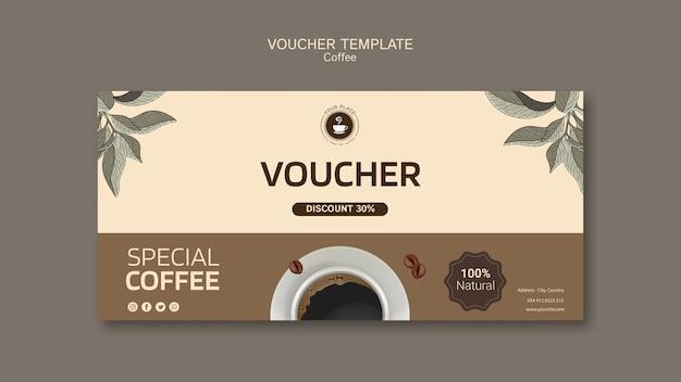 Koffievoucher sjabloon Gratis Psd
