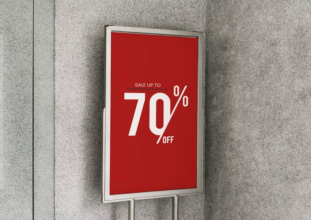 Koop maximaal 70% korting op de poster-mockup Gratis Psd