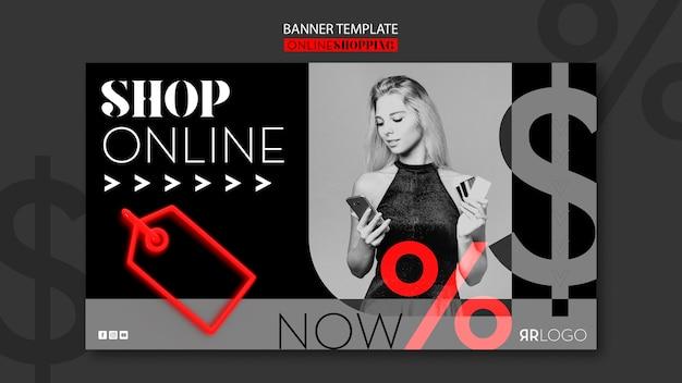 Koop nu online mode horizontale banner Gratis Psd