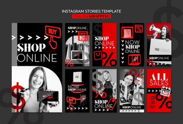 Koop nu online mode instagram verhalen sjabloon Gratis Psd