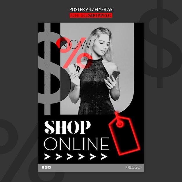 Koop nu online mode poster sjabloon Gratis Psd