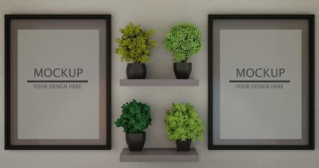 Koppel horizontaal frame mockup tussen planten op wandplank. Premium Psd