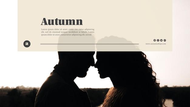 Koppel op herfst websjabloon Gratis Psd