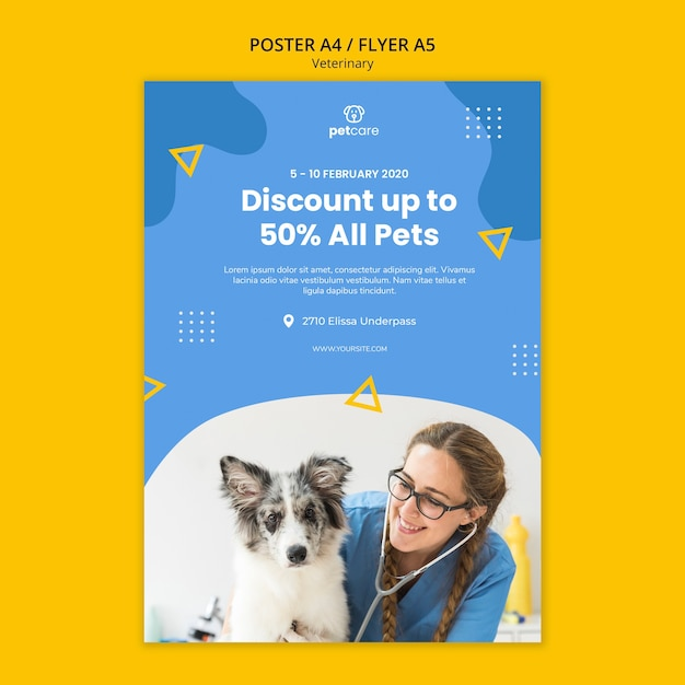 Korting voor alle huisdieren veterinaire poster sjabloon Gratis Psd