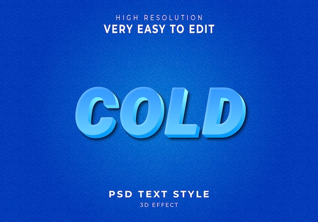 Koude 3d moderne tekststijl Premium Psd