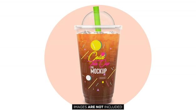 Koude thee plastic container cup met pijp psd mockup Premium Psd
