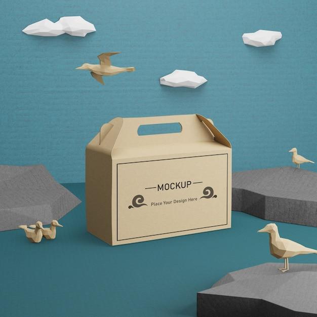 Kraft papieren zak voor oceaan dag met mock-up Gratis Psd