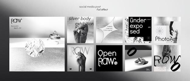 Kunsttentoonstelling social media posts Premium Psd