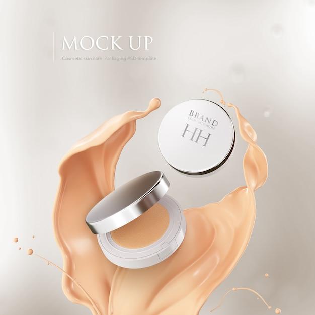 Kussenfiguurtje. compact poeder mockup cosmetisch pakket. Premium Psd