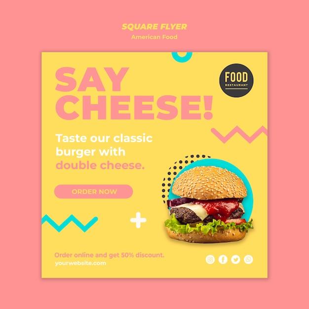 Kwadraat flyer sjabloon voor amerikaans eten met hamburger Gratis Psd