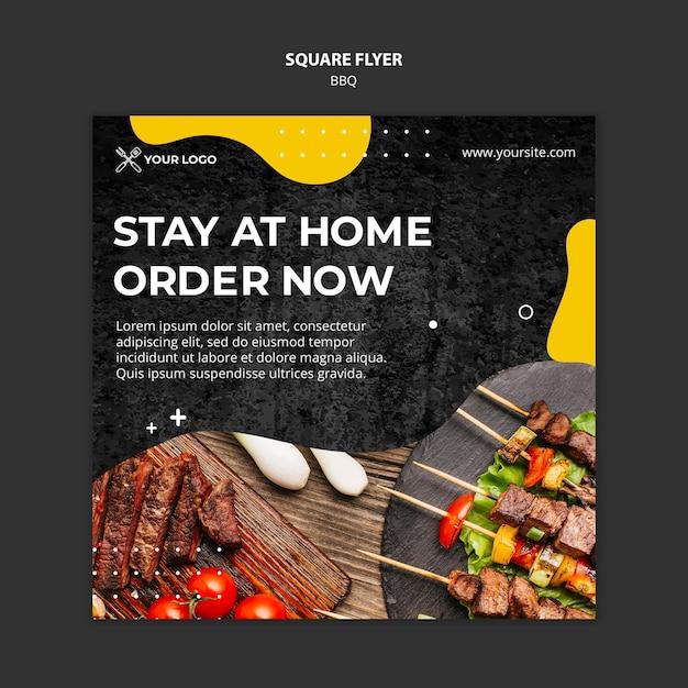 Kwadraat flyer sjabloon voor barbecue restaurant Gratis Psd