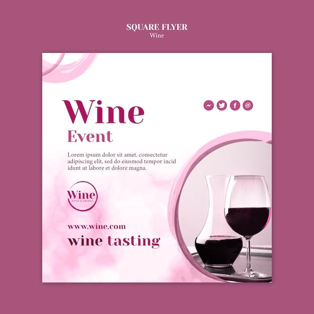Kwadraat flyer sjabloon voor wijnproeven Gratis Psd