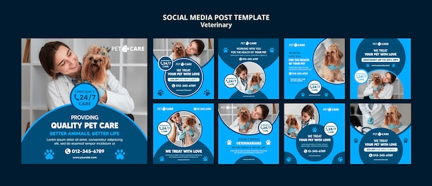 Kwaliteitssjabloon voor sociale media voor huisdierenverzorging Gratis Psd