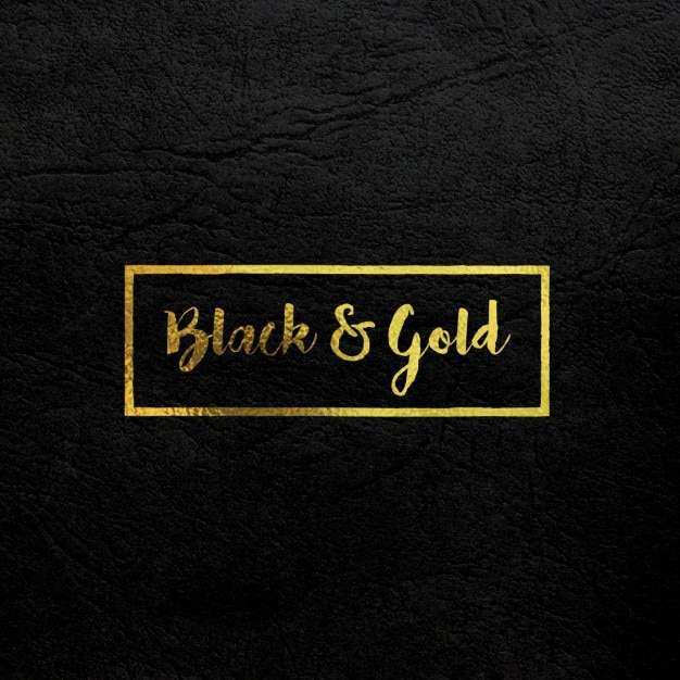 L'oro logo mock up sulla pelle nera Psd Gratuite