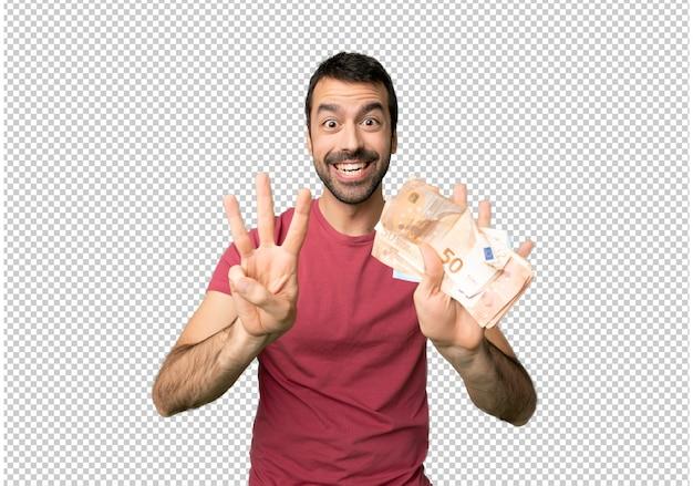 L'uomo prende un sacco di soldi contando otto con le dita Psd Premium