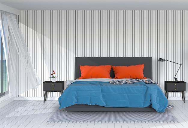 La camera da letto moderna interna 3d rende Psd Premium