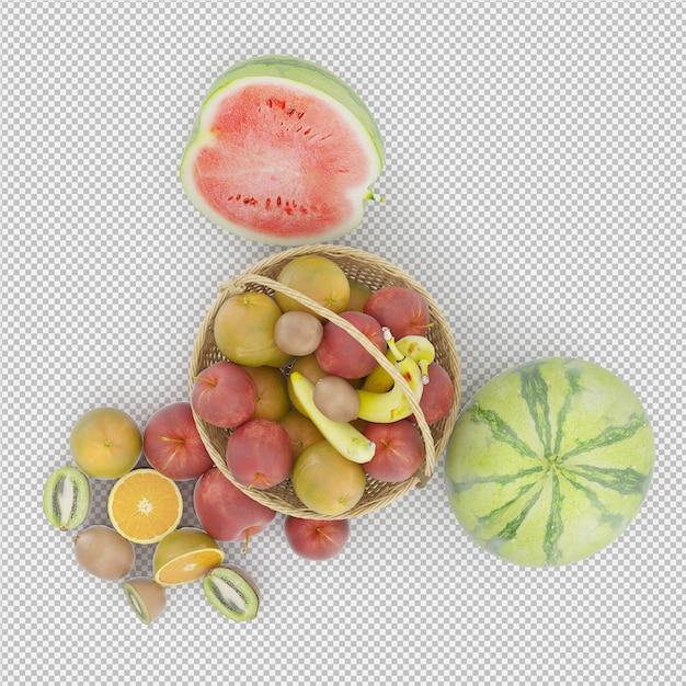 La frutta 3d rende Psd Premium