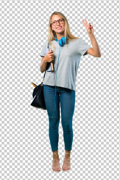 La ragazza dello studente con i vetri che sorride e che mostra il segno di vittoria con entrambe le mani e con un fronte allegro Psd Premium