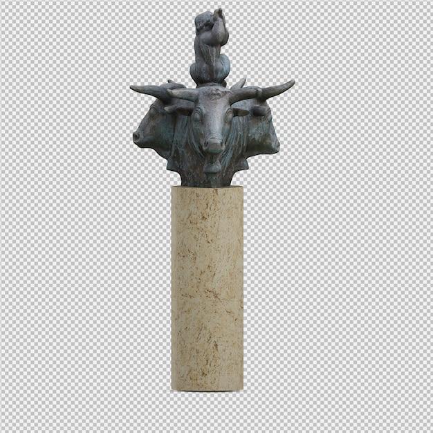 La statua 3d degli animali isolata rende Psd Premium