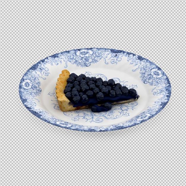 La torta 3d del mirtillo isolata rende Psd Premium