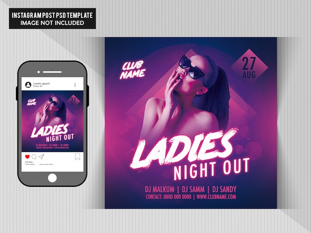 Ladies night out flyer-sjabloon Premium Psd