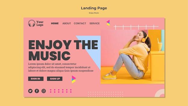 Landingspagina-sjabloon om van muziek te genieten Gratis Psd