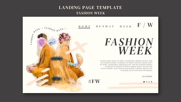 Landingspagina sjabloon voor fashion week Gratis Psd