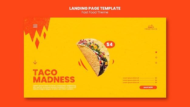 Landingspagina sjabloon voor fastfoodrestaurant Premium Psd
