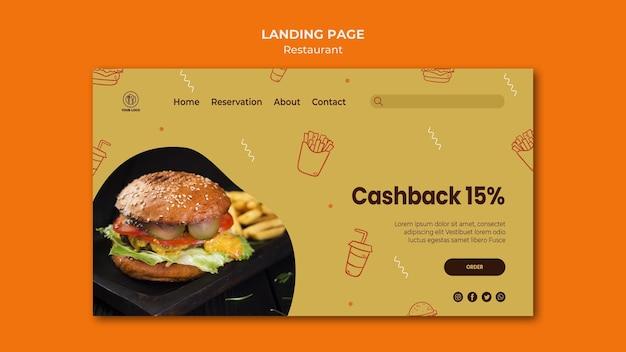 Landingspagina sjabloon voor hamburgerrestaurant Gratis Psd