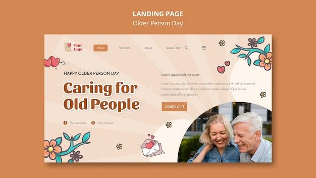 Landingspagina-sjabloon voor hulp en zorg voor ouderen Gratis Psd