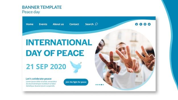 Landingspagina sjabloon voor internationale dag van vrede Gratis Psd