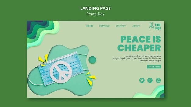 Landingspagina sjabloon voor internationale vredesdag Gratis Psd