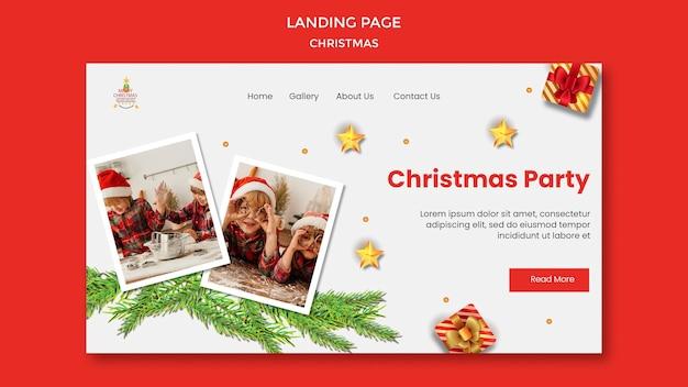 Landingspagina sjabloon voor kerstfeest met kinderen in kerstmutsen Premium Psd