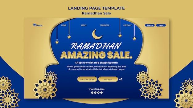 Landingspagina sjabloon voor ramadan verkoop Gratis Psd