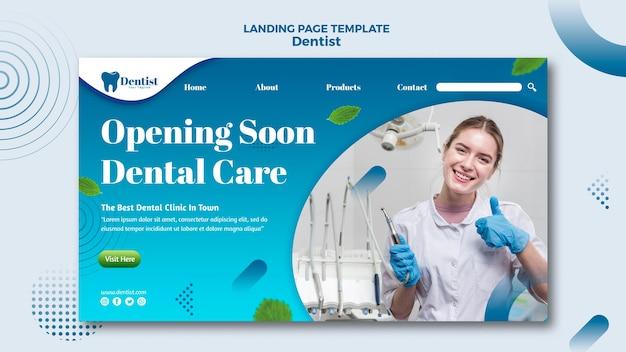 Landingspagina sjabloon voor tandheelkundige zorg Gratis Psd