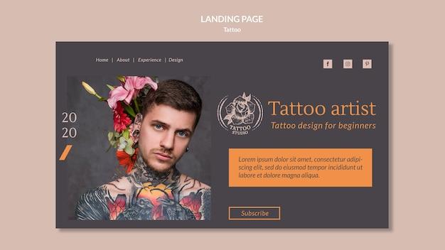 Landingspagina sjabloon voor tattoo-artiest Gratis Psd