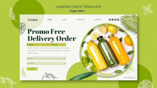 Landingspagina sjabloon voor veganistisch sapbezorgbedrijf Premium Psd