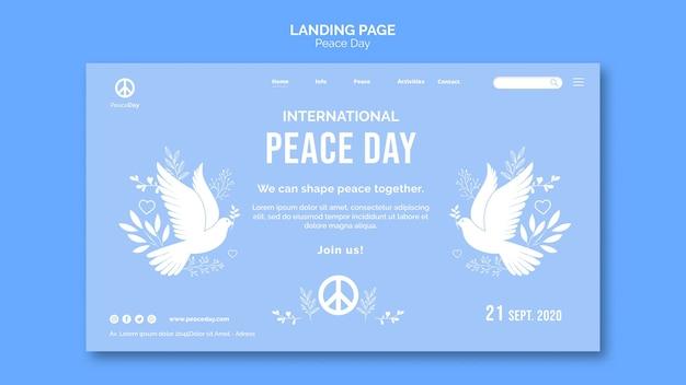 Landingspagina sjabloon voor vredesdag Gratis Psd