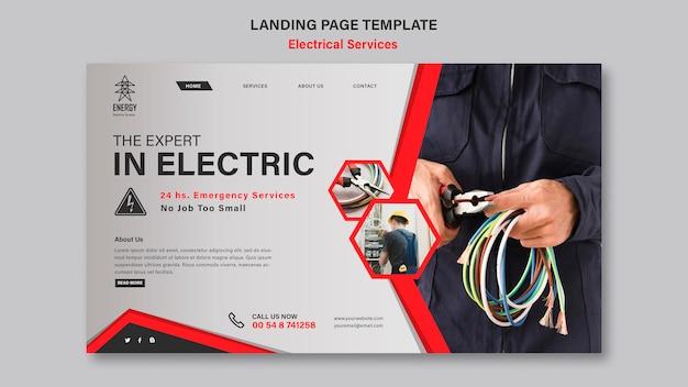 Landingspagina-stijl voor elektrische diensten Gratis Psd