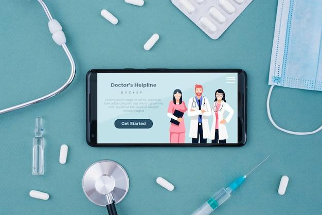 Landingspagina van de hulplijn van de dokter op smartphone Gratis Psd