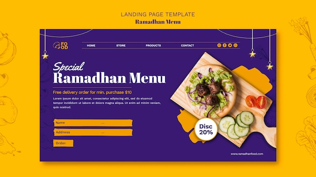 Landingspagina van het ramadhan-menu Gratis Psd