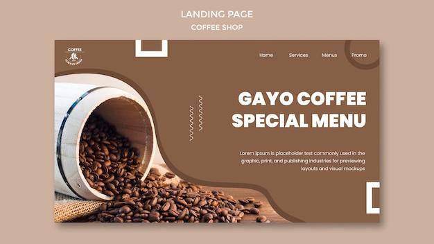 Landingspagina voor coffeeshop Gratis Psd