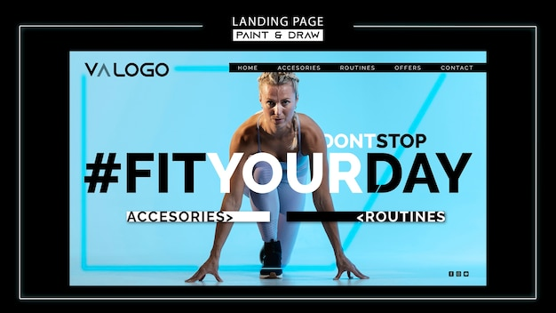 Landingspagina voor fitnesstraining Gratis Psd