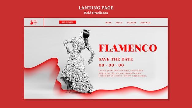 Landingspagina voor flamencoshow met danseres Premium Psd