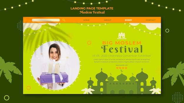 Landingspagina voor groot moslimfestival Gratis Psd