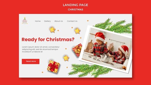 Landingspagina voor kerstfeest met kinderen in kerstmutsen Gratis Psd