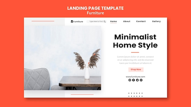 Landingspagina voor minimalistische meubelontwerpen Gratis Psd