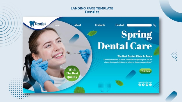 Landingspagina voor tandheelkundige zorg Gratis Psd