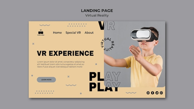 Landingspagina voor virtual reality Gratis Psd