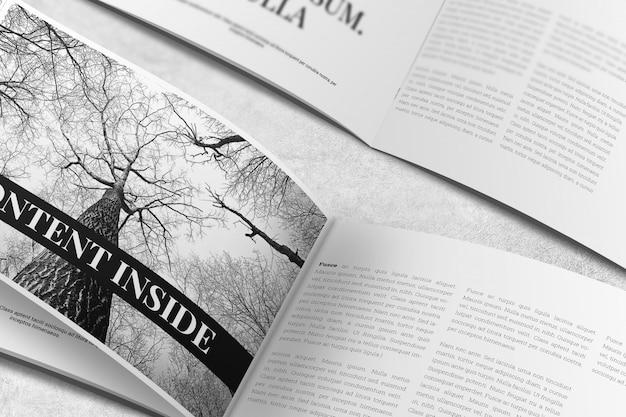 Landscape magazine o brochure mockup Psd Premium